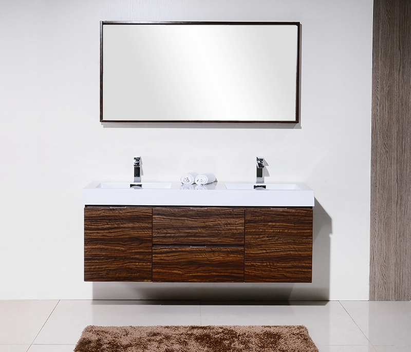 Bliss 59 Walnut Wall Mount Double Sink Modern Bathroom Vanity