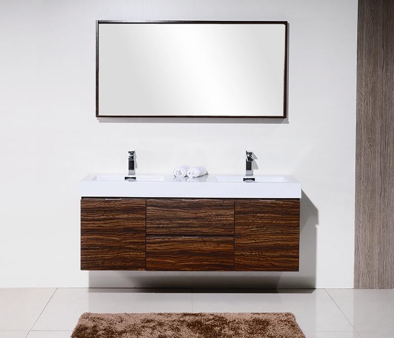 Bliss 59 Walnut Wall Mount Double Sink Modern Bathroom Vanity
