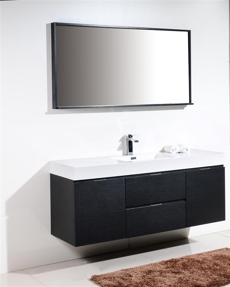 Bliss 60 Black Wall Mount Single Sink Modern Bathroom Vanity