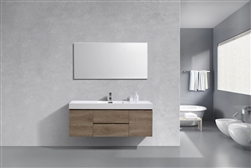 "Bliss 60"" Butternut Wood Wall Mount  Single Sink Modern Bathroom Vanity"