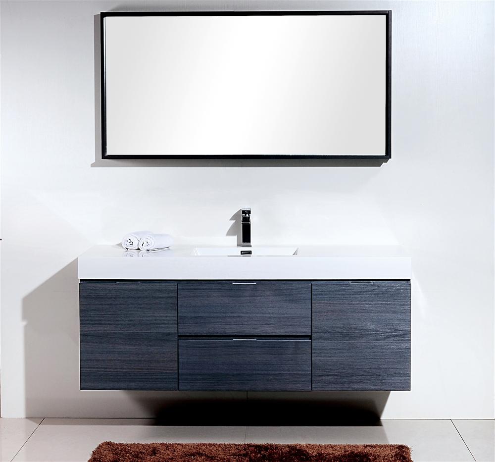 Fantastic Bliss 60 Gray Oak Wall Mount Single Sink Modern Bathroom Vanity In Stock Interior Design Ideas Truasarkarijobsexamcom