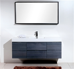 "Bliss 60""  Gray Wall Mount  Single Sink Modern Bathroom Vanity"
