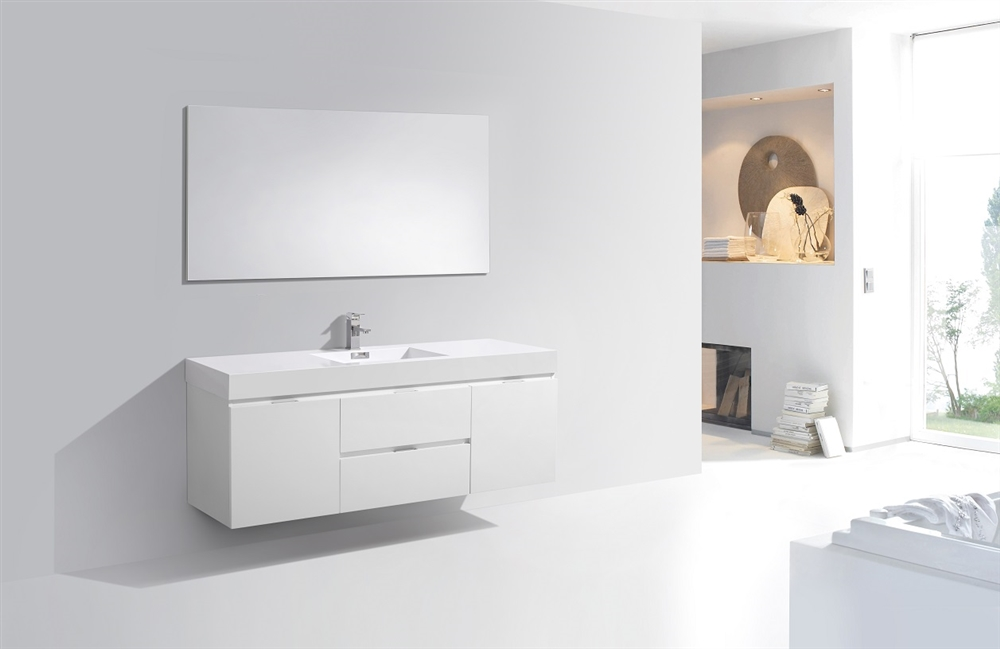 Bliss 60 Quot Gloss White Wall Mount Single Sink Modern