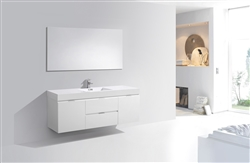 "Bliss 60""  Gloss White Wall Mount  Single Sink Modern Bathroom Vanity"
