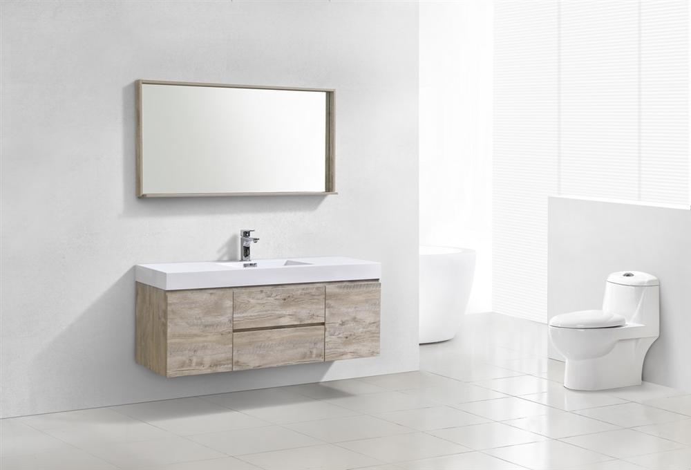 Bliss 60 Nature Wood Wall Mount Single Sink Modern Bathroom Vanity