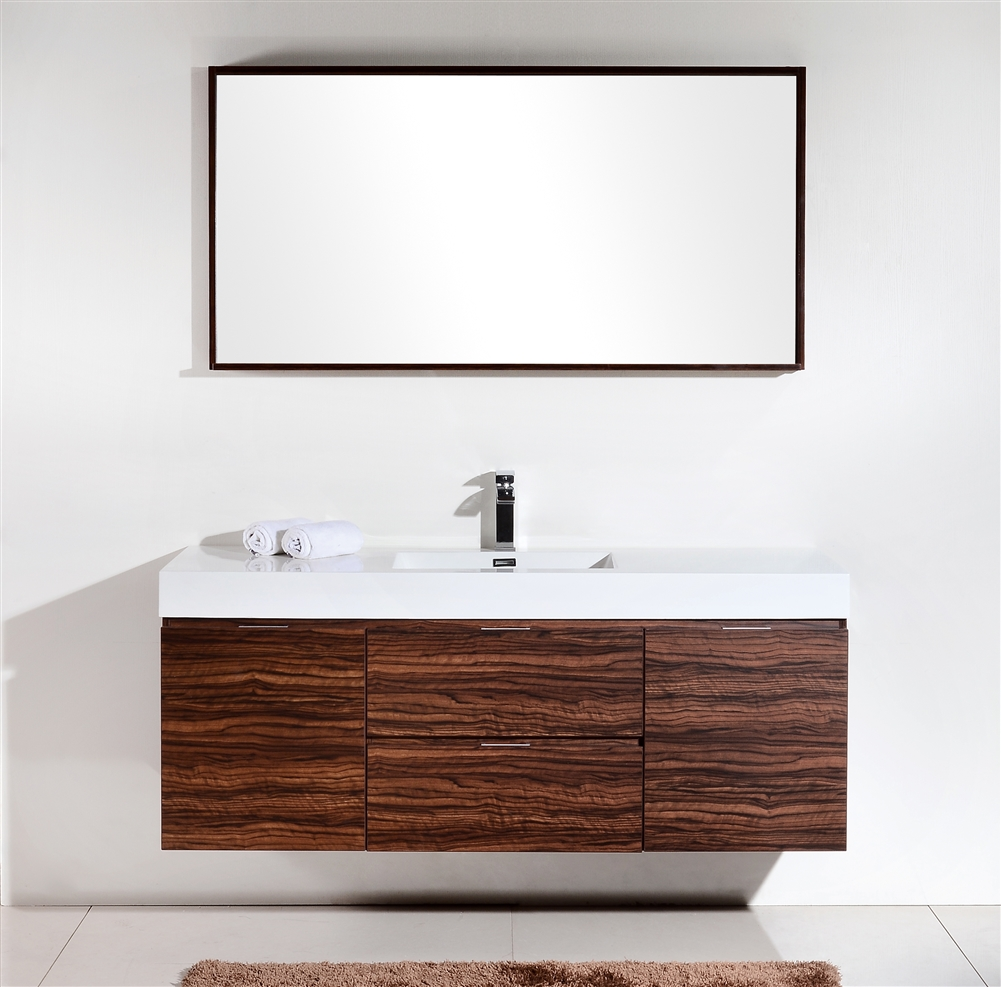 Bliss 60 Walnut Wall Mount Single Sink Modern Bathroom Vanity