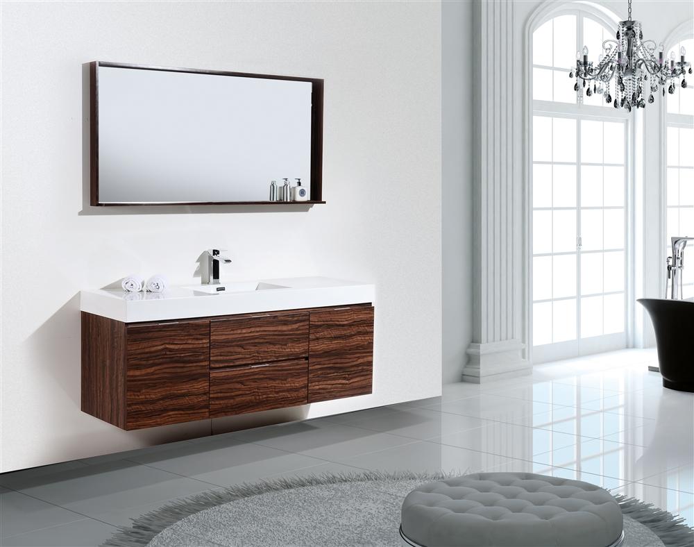 Bliss 60 Walnut Wall Mount Single Sink Modern Bathroom Vanity