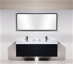 Bliss 72'' Black Wall Mount  Double Sink Modern Bathroom Vanity