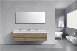 Bliss 72'' Butternut Wood Wall Mount  Double Sink Modern Bathroom Vanity