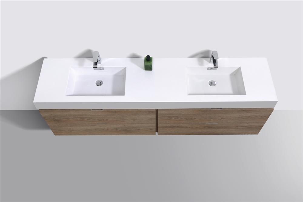 Bliss 72 Butternut Wood Wall Mount Double Sink Modern Bathroom Vanity