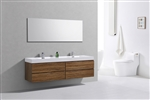 Bliss 72'' High Glossy Chestnut Wood Wall Mount  Double Sink Modern Bathroom Vanity