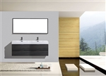 Bliss 72'' Gray Oak Wall Mount  Double Sink Modern Bathroom Vanity