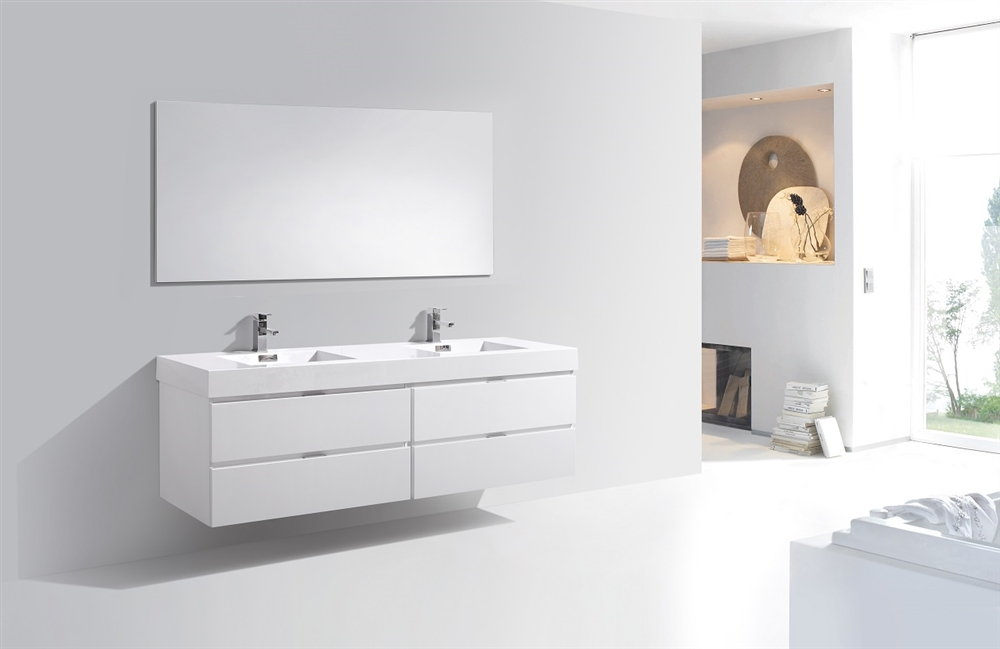 Awesome Bliss 72 High Gloss White Wall Mount Double Sink Modern Bathroom Vanity In Stock Home Interior And Landscaping Synyenasavecom