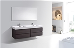 Bliss 72''  High Gloss Gray Oak Wall Mount  Double Sink Modern Bathroom Vanity