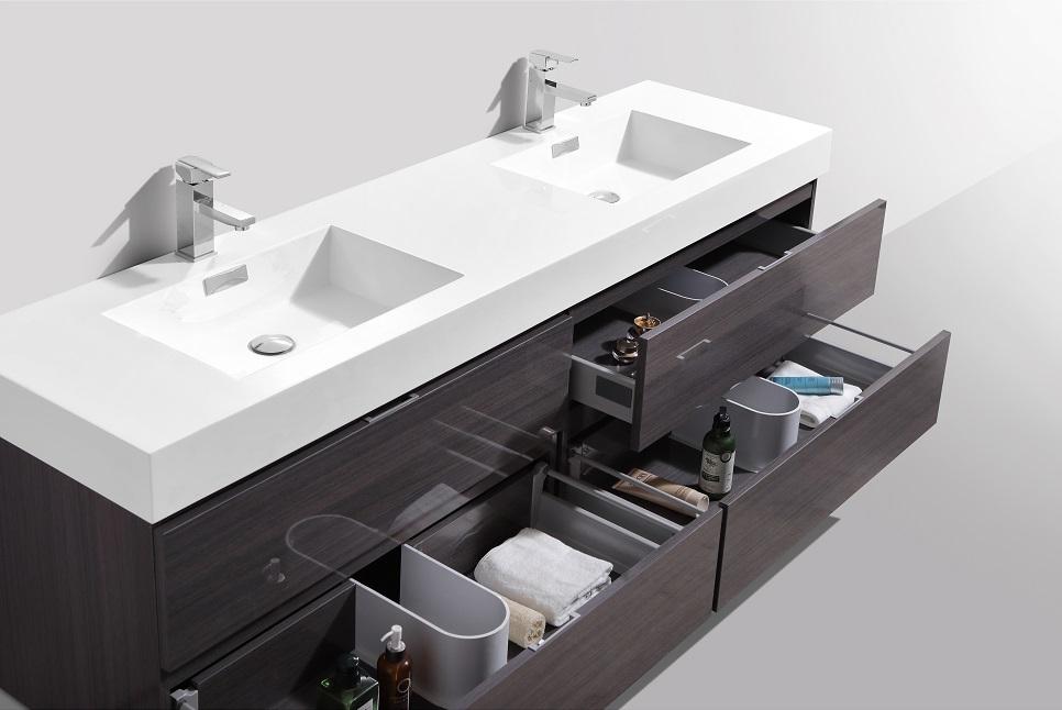 Fine Bliss 72 High Gloss Gray Oak Wall Mount Double Sink Modern Bathroom Vanity In Stock Interior Design Ideas Inesswwsoteloinfo
