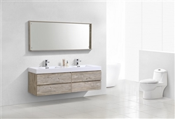 Bliss 72'' Nature Wood Wall Mount  Double Sink Modern Bathroom Vanity