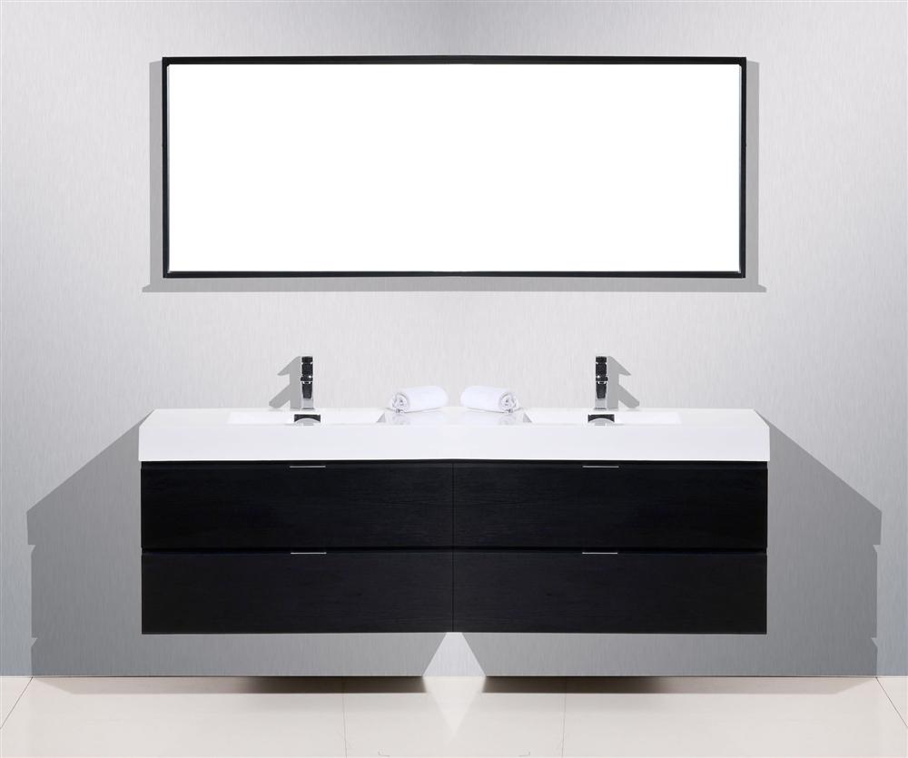 Black Wood Wall Mount Double Sink