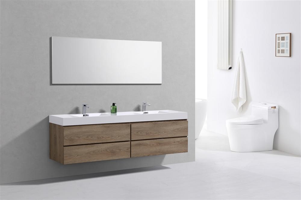Bliss 80 Butternut Wood Wall Mount Double Sink Modern Bathroom Vanity
