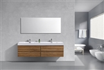 Bliss 80'' High Glossy Chestnut Wood Wall Mount  Double Sink Modern Bathroom Vanity