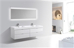 Bliss 80'' High Gloss White Wall Mount  Double Sink Modern Bathroom Vanity