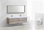 Bliss 80'' Nature Wood Wall Mount  Double Sink Modern Bathroom Vanity