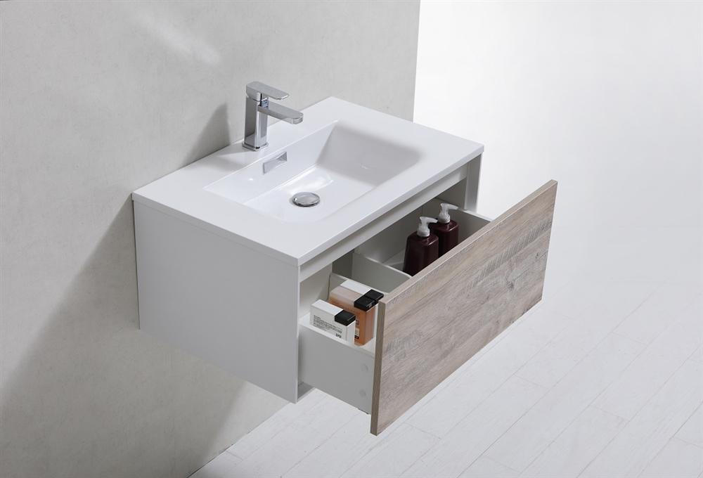 Divario 30 Inch Nature Wood Wall Mount Modern Bathroom Vanity