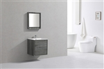 "DeLusso 24"" Ocean Gray Wall Mount Modern Bathroom Vanity"