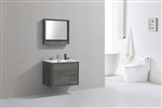 "DeLusso 30"" Ocean Gray Wall Mount Modern Bathroom Vanity"