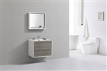 "DeLusso 30"" Ash Gray Wall Mount Modern Bathroom Vanity"