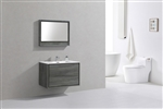 "DeLusso 36"" Ocean Gray Wall Mount Modern Bathroom Vanity"