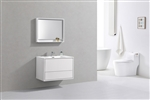 "DeLusso 36"" High Glossy White Wall Mount Modern Bathroom Vanity"