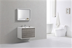 "DeLusso 36"" Ash Gray Wall Mount Modern Bathroom Vanity"