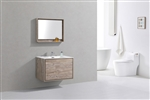 "DeLusso 36"" Nature Wood Wall Mount Modern Bathroom Vanity"