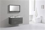 "DeLusso 48"" Double Sink Ocean Gray Wall Mount Modern Bathroom Vanity"