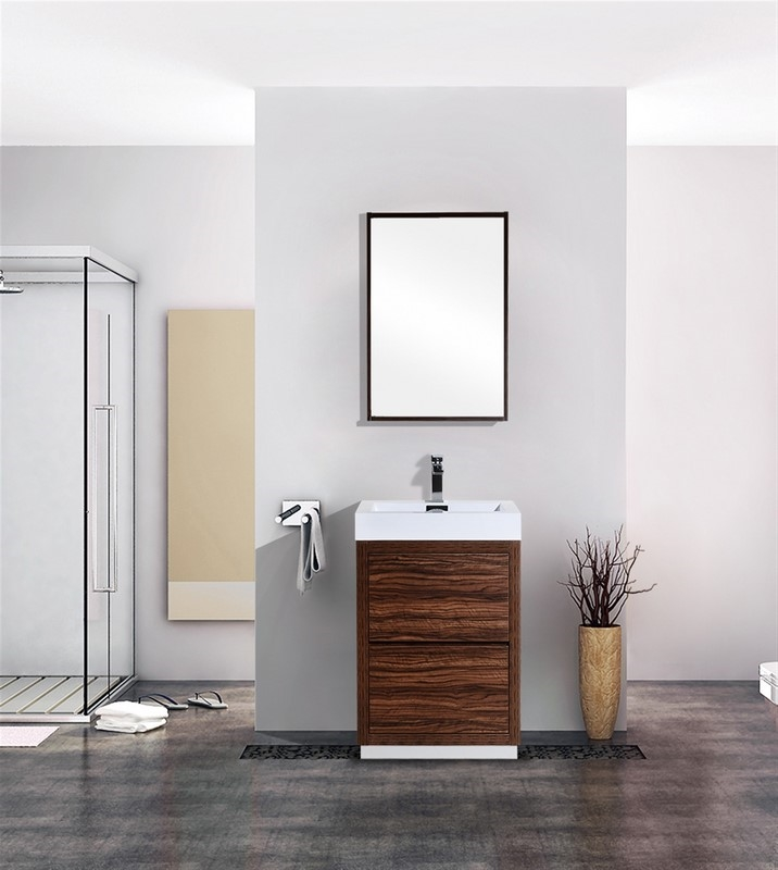 Bliss Walnut Floor Mount Modern Bathroom Vanity - 24 contemporary bathroom vanity