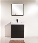 "Bliss 30"" Black Floor Mount  Modern Bathroom Vanity"