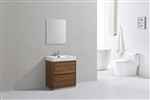 "Bliss 30"" Gloss Chestnut Floor Mount  Modern Bathroom Vanity"