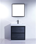 "Bliss 30"" Gray Oak Floor Mount  Modern Bathroom Vanity"