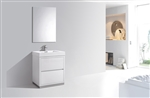 "Bliss 30"" High Gloss White Floor Mount  Modern Bathroom Vanity"