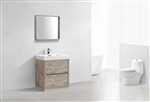 "Bliss 30"" Nature Wood Floor Mount  Modern Bathroom Vanity"