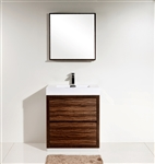 "Bliss 30"" Walnut Floor Mount  Modern Bathroom Vanity"