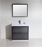 "Bliss 36"" Gray Oak Floor Mount  Modern Bathroom Vanity"