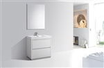 "Bliss 36"" High Gloss White Floor Mount  Modern Bathroom Vanity"