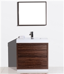 "Bliss 36"" Walnut Floor Mount  Modern Bathroom Vanity"