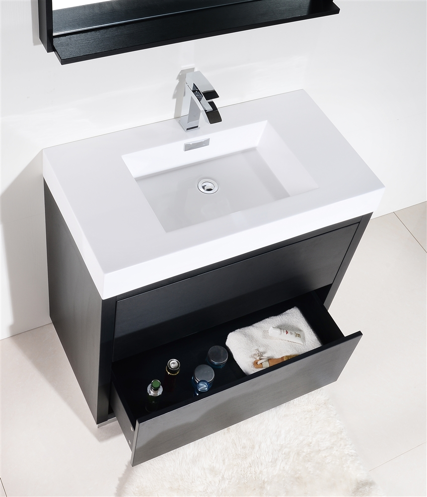Bliss 40 Floor Mount Black Bathroom Vanity