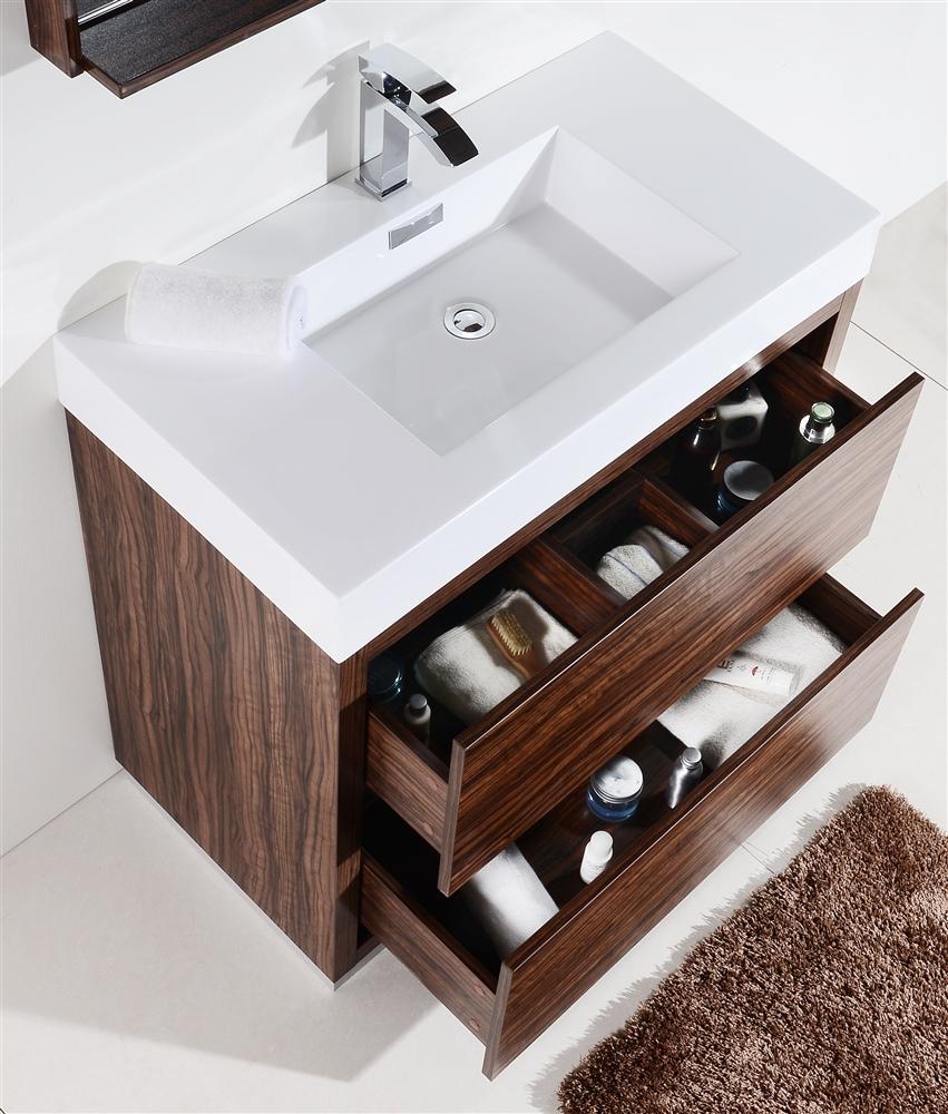 Bliss 40 Walnut Floor Mount Modern Bathroom Vanity