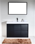 "Bliss 48"" Black Floor Mount Modern Bathroom Vanity"