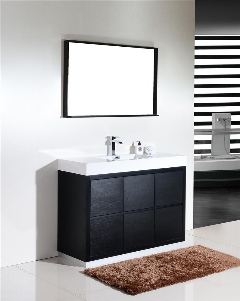 bliss  black floor mount modern bathroom vanity - the