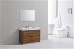 "Bliss 48"" Gloss Chestnut Floor Mount Modern Bathroom Vanity"