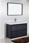 "Bliss 48"" Gray Oak Floor Mount Modern Bathroom Vanity"
